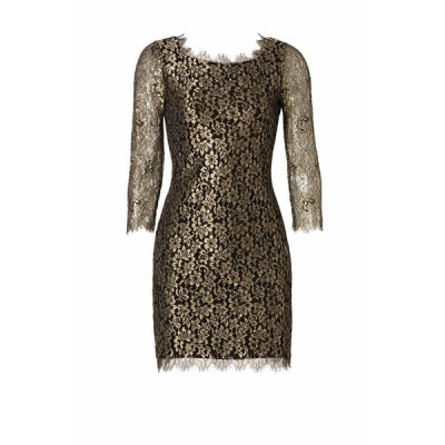 ワンピース ダイアンフォンファステンバーグ DVF Diane von Furstenberg ZARITA Gold Metallic Lace Black Dress 4 6 8