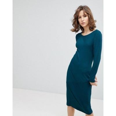 セレクティッド レディース ワンピース トップス Selected Femme bodycon midi dress in blue Green