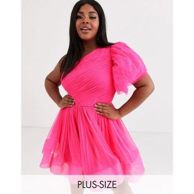 レース アンド ピース Lace & Beads Plus レディース ワンピース ミニ丈 ワンピース・ドレス puff ball sleeve mini prom dress in neon pink ネオンピンク