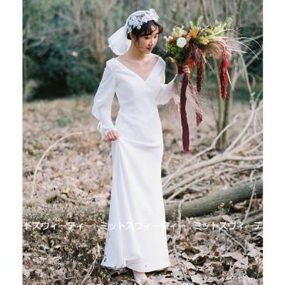 ウェディングドレス ロングドレス 結婚式 長袖 ウエディングドレス 二次会 花嫁 前撮り エレガント サテン ホワイト リゾート ワンピース ハネムーンフォト