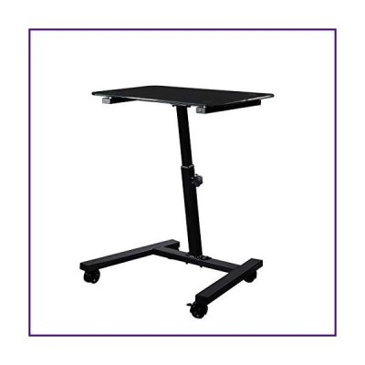 Seville Classics Solid-Top Height Adjustable Mobile Laptop Computer Desk Cart Ergonomic Home Office Stand Rolling Table, Tempered Glass (24""