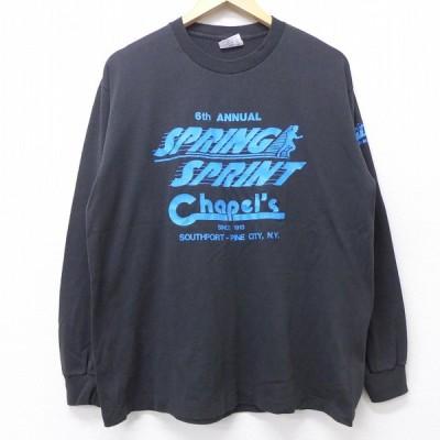 L/古着 長袖 ビンテージ Tシャツ 90s スプリング スプリント チャペル クルーネック 黒 ブラック 20jun24 中古 メンズ