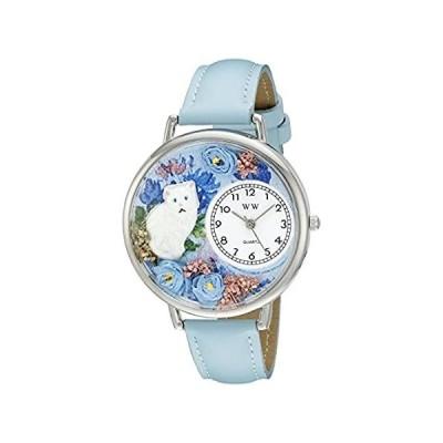 【新品・送料無料】白猫 水色レザー シルバーフレーム時計 #U0120014