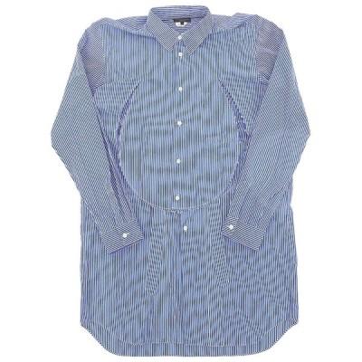 超美品 COMME des GARCONS HOMME PLUS ギャルソン オム プリュス 19ss サークルカット ストライプ コットン ロングシャツ L ブルー系