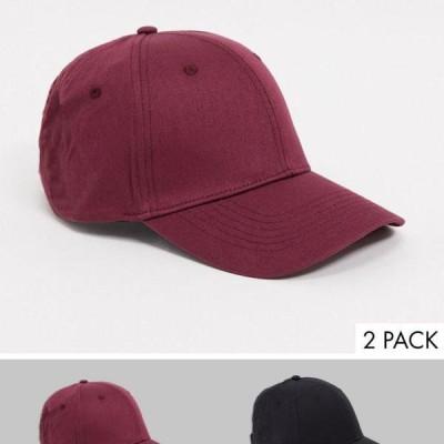 エイソス ASOS asos ASOS DESIGN2パックベースボールキャップ(ブラックとバーガンディコットン) 帽子 メンズ 男性 インポートブランド