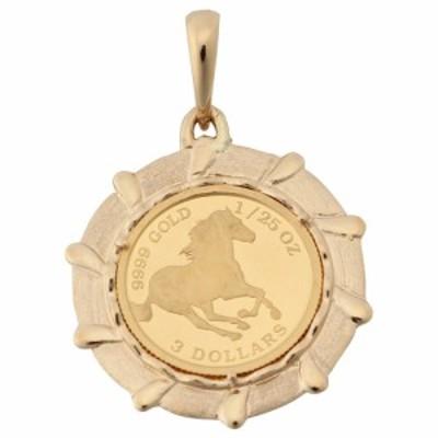 純金 K24 ホース 馬 1/25oz 金貨 コイン ペンダントトップ デザイン枠 馬 新品 送料無料 メンズ レディース プレゼント ギフト 贈り物