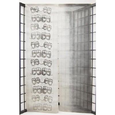 暖簾-のれん 麻100% ふくろう灰ぼかし n-68