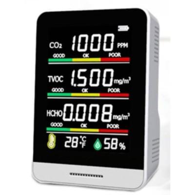 CO2濃度測定器 CO2チェッカー 二酸化炭素測定器 ヒロコーポレーション 換気アラート機能 5つのデータを同時測定 ホワイト HCOM-CN001 ◆宅