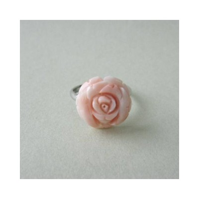 ピンク珊瑚の 薔薇の花のフリーリング /指輪/天然石/コーラルアクセ