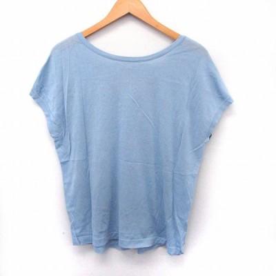 【中古】プラステ PLST カットソー Tシャツ フレンチスリーブ シンプル バックオープン M ブルー /ST53 レディース 【ベクトル 古着】