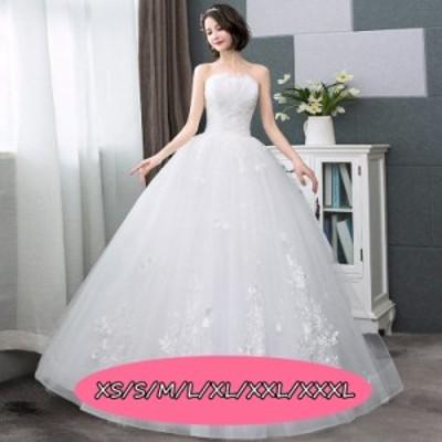 結婚式ワンピース ウェディングドレス 上品レディース 着痩せ ミドリフトップ ハイウエスト 花嫁 ドレス ホワイト色