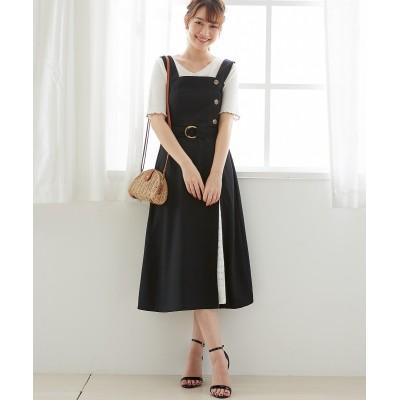 刺しゅうレース切替がかわいいジャンパースカート (ジャンスカ)Skirts