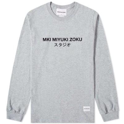 エムケーアイ MKI メンズ 長袖Tシャツ ロゴTシャツ トップス Long Sleeve Classic Logo Tee Grey