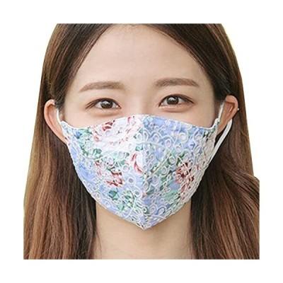 レースマスク 布マスク マスク 女性 レース柄 刺繍 クール 接触冷感 冷感 マスクケース付き (M060-BLUE【1枚入】)