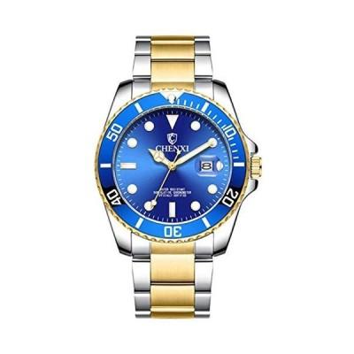 腕時計(男性)メンズ腕時計 シルバーゴールド ステンレススチール ツートンカラー 防水アナログクォーツウォッチ カレンダー付き Gold blue