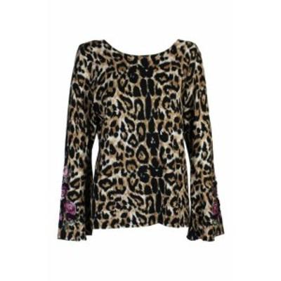 ファッション トップス Inc International Concepts Brown Embroidered Leopard Pattern Jumper XL