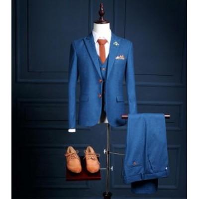 高品質 韓国ファッション メンズスーツ 3点セットアップ ビジネススーツ 紳士服 通勤フォーマルスーツセット結婚式 二次会 S-5XL 春秋冬