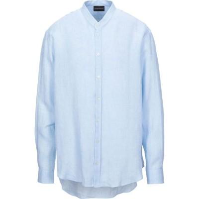 アルマーニ EMPORIO ARMANI メンズ シャツ トップス linen shirt Sky blue