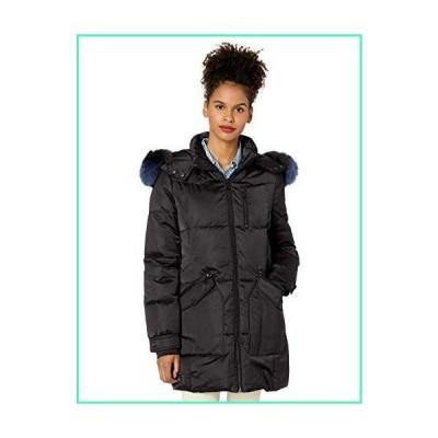 1 Madison Women's Warm Winter Coat with Fox Fur Trimmed Hood, Black, Medium並行輸入品