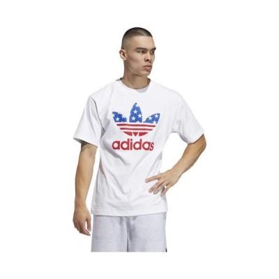 (取寄)アディダス オリジナルス メンズ アメリカ スタックド Tシャツ adidas originals Men's America Stacked T-Shirt White Scarlet Blue 送料無料