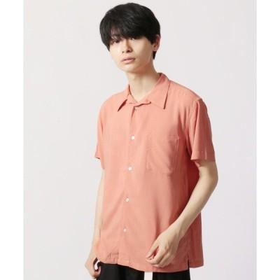 シャツ ブラウス レーヨンオープンカラー半袖シャツ