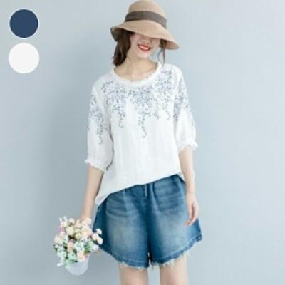 【送料無料】Tシャツ レディース 大きいサイズ 体型カバー 刺繍 花柄 2色 フリーサイズ