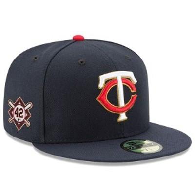 ニューエラ メンズ 帽子 アクセサリー Minnesota Twins New Era Jackie Robinson Day Sidepatch 59FIFTY Fitted Hat Navy