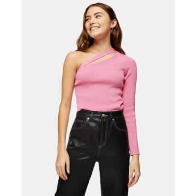 トップショップ レディース シャツ トップス Topshop spliced one shoulder sweater in pink