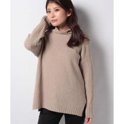 Leilian / レリアン ケーブル袖カシミヤセーター