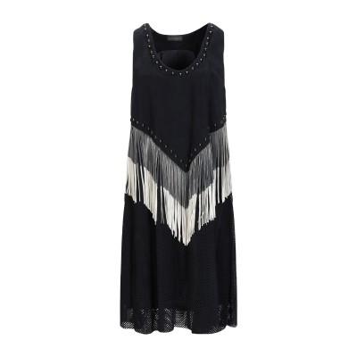 ドローム DROMe ミニワンピース&ドレス ブラック M 山羊革 100% ミニワンピース&ドレス