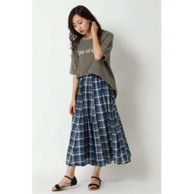 【エルビーシー】 ラメチェックギャザースカート レディース ブルー M(9ゴウ) LBC
