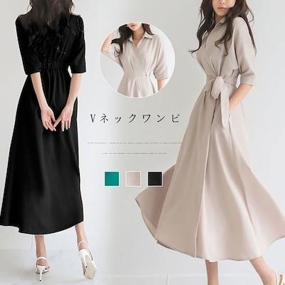 韓国ファッション/ワンピース レディース マキシ 半袖 ロング 大きいサイズ Vネック 無地 おしゃれ 可愛い ブラックZY1187