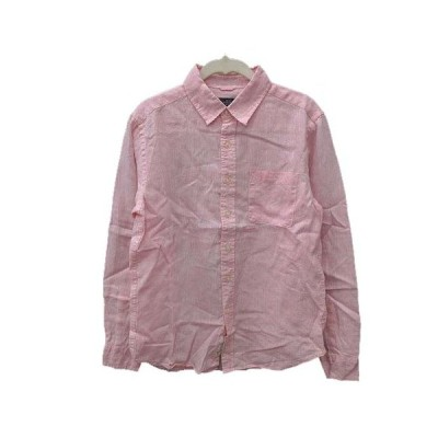 【中古】レイジブルー RAGEBLUE シャツ 長袖 麻 リネン S ピンク /KB メンズ 【ベクトル 古着】
