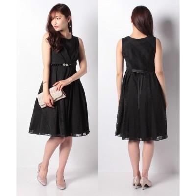 【エイミーパール(ドレス)】ビジューベルト付斜めレースドレス