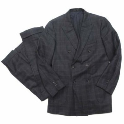 【中古】タケオキクチ SPORTEX by DORMEUIL スーツ セットアップ ジャケット ダブル パンツ チェック 黒 IBO5 メンズ