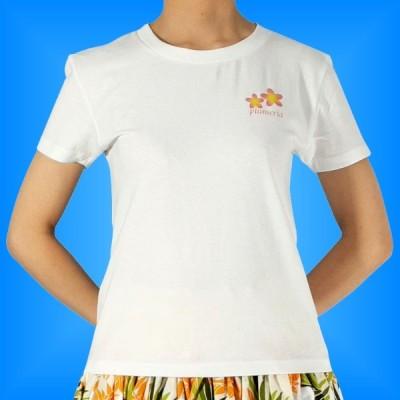 フラダンス Tシャツ M プルメリア ホワイト 542mw