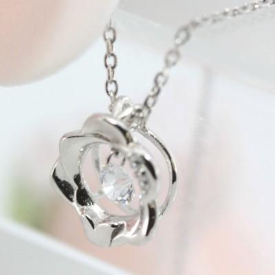 ネックレス CZダイヤモンド レディース ダンシングストーン 揺れる シルバー925 シンプル パーティー 送料無料