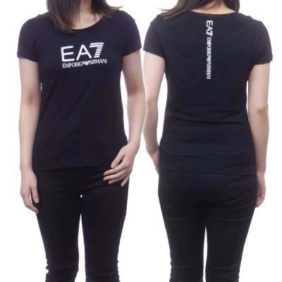 EMPORIO ARMANI エンポリオアルマーニ EA7 レディースラウンドネックTシャツ 8NTT63 TJ12Z ブラック /2021春夏新作