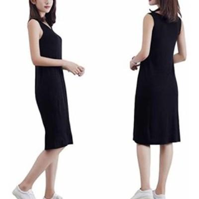 (カネツー) Kanetsu ファッション インナー ワンピース レディース 服 (中長(ロング)黒色, L)
