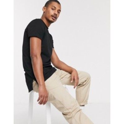 エイソス メンズ Tシャツ トップス ASOS DESIGN longline t-shirt with crew neck and side splits in black Black