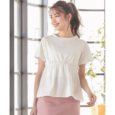 tシャツ Tシャツ 異素材フリル切り替えTシャツ