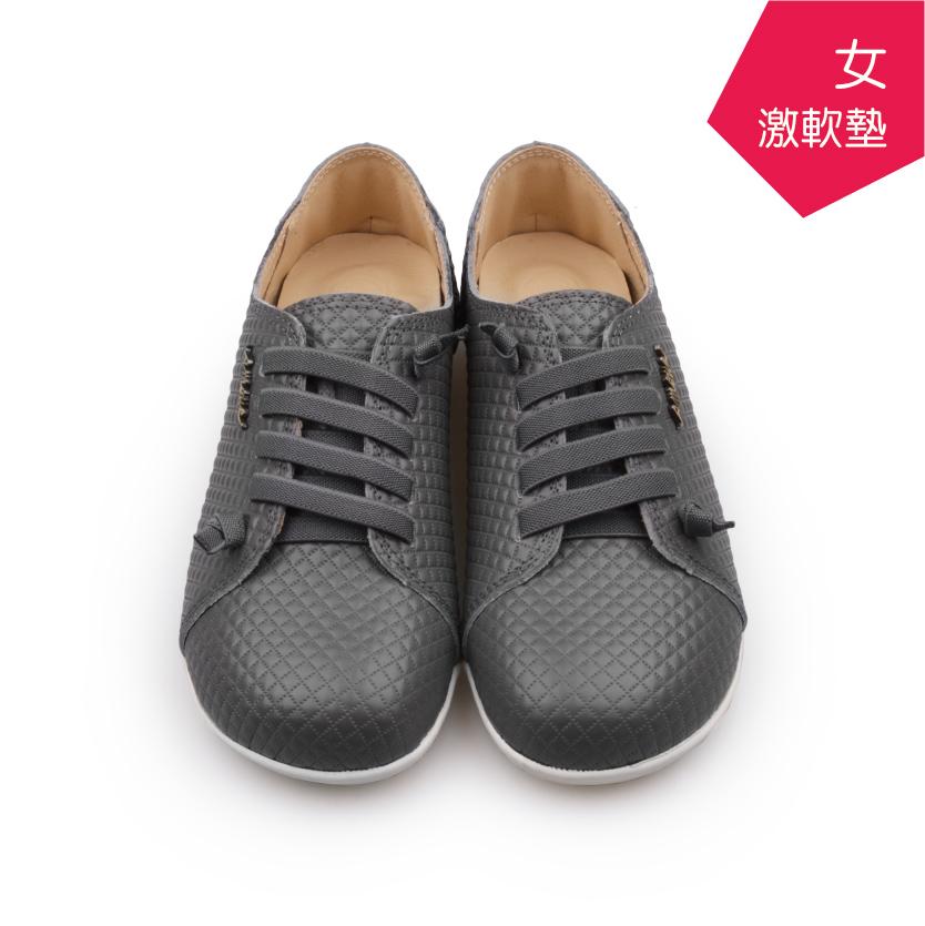 【A.MOUR 經典手工鞋】特色饅頭鞋 - 格紋灰(2836)