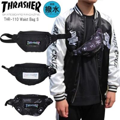 あすつく THRASHER スラッシャー ミニ ウエストバッグ S THR-110 ボディバッグ 小さめ 子供 ジュニア メンズ レディース フェス 黒 ブラック 送料無料