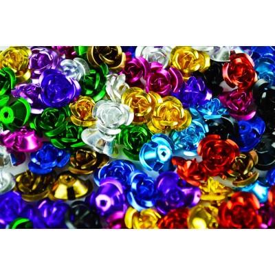 アルミ 薔薇 10mm Mix バラ 11色 110個 レジン デコ ばら (AB0001)
