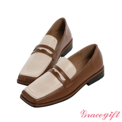 Grace gift-方頭便仕低跟樂福鞋 棕