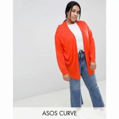 エイソス カーディガン ASOS DESIGN Curve Eco Cardigan In Oversize Fine Knit Tomato