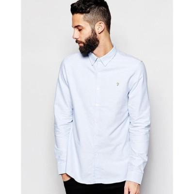 ファラー ワークシャツ メンズ Farah Oxford Shirt in Slim Fit エイソス ASOS トップス スリム 刺繍 ブルー 青 新品 フィット ボタンダウン スリムフィット オ