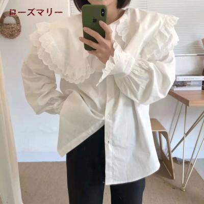 ローズマリー  韓国ファッション🌸2021 1月 新品販売レースのダッフルシャツ  長袖シャツ  ルーズトップス  スイート    可愛い  綺麗です     2101013