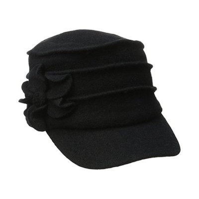 (One Size, Black) - San Diego Hat Company Women's Wool Cadet with Right Sid