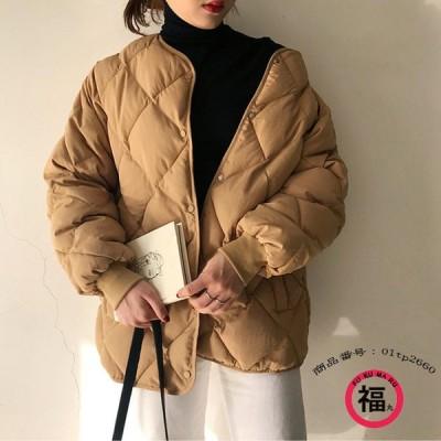 キルティングコート ブルゾン レディース ジャケット 中綿ジャケット キルトコート ノーカラー ショート丈 シンプル ボタン留め 大きいサイズ ゆったり 冬 30代